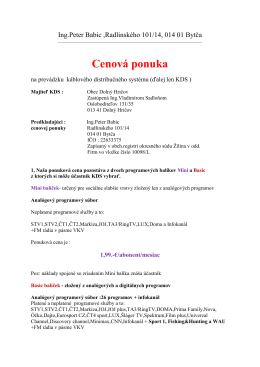 Káblová televízia - ponuka - Ing. Peter Babic