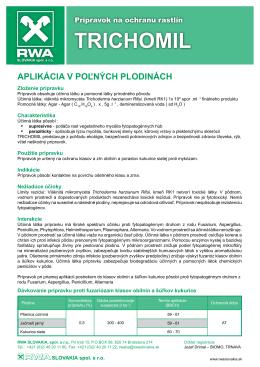 TRICHOMIL aplikácia v poľných plodinách