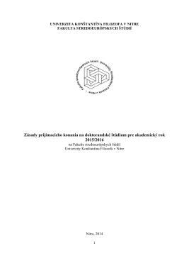 Zásady prijímacieho konania na doktorandské štúdium pre