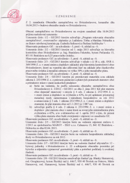 Uznesenie z 2. Obecného zastupiteľstva
