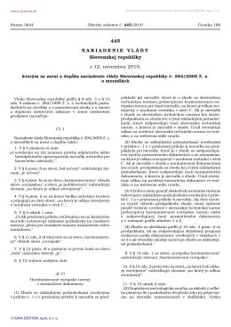 445/2010 Nariadenie vlády Slovenskej republiky, ktorým sa