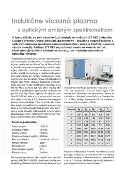 Indukčne viazaná plazma s optickým emisným spektrometrom