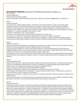 REKLAMAČNÝ PORIADOK spoločnosti ArcelorMittal Construction