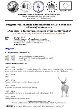 Program VII. Valného zhromaždenia SADF a vedecko