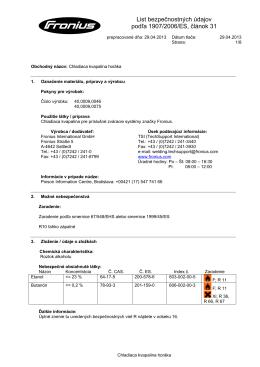 List bezpečnostných údajov podľa 1907/2006/ES, článok 31
