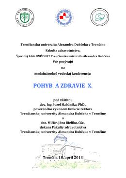 POHYB A ZDRAVIE X. - Masarykova univerzita