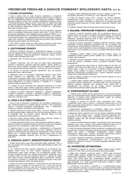 Všeobecné obchodné podmienky (PDF)