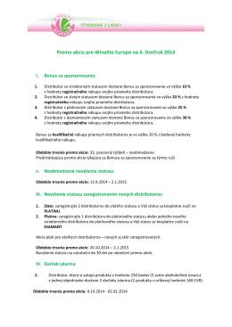Promo akcia pre Winalite Europe na 4. štvrťrok 2014