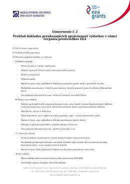 Usmernenie finančného oddelenia k oprávnenosti výdavkov a