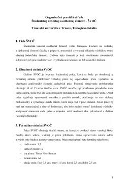 Organizačné pravidlá ŠVOČ 2015