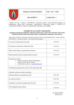 20150327 schválené VZN č. 1 2015 o sťažnostiach