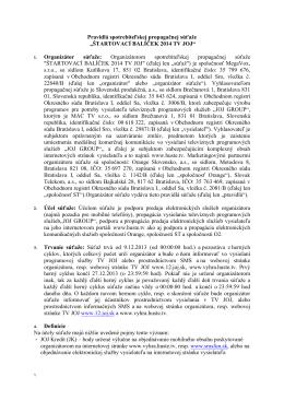 Pravidla sutaze Startovaci balicek TV JOJ 2014