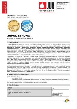 jupol strong - technický list