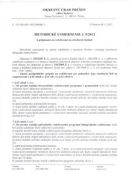 Metodické usmernenie k prijímaniu na stredných školách (pdf)