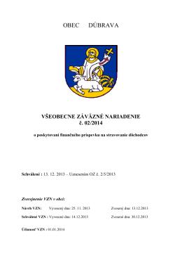 VZN č. 2/2014 o poskytovaní finančného príspevku