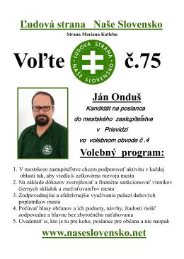 Ján Onduš Kandidát na poslanca do mestského