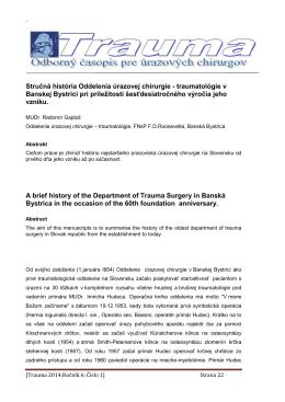 Stručná história Oddelenia úrazovej chirurgie