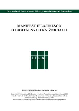 Manifest IFLA/UNESCO o digitálnych knižniciach