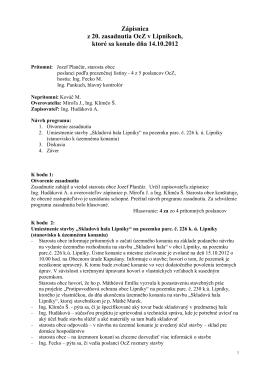 Zápisnica z 20. zasadnutia OcZ, 14.10.2012