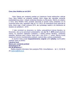 Cena Jána Hollého za rok 2014 Výbor Sekcie pre