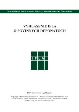 Vyhlásenie IFLA o povinných deponátoch
