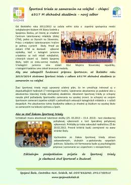 Športová trieda so zameraním na volejbal