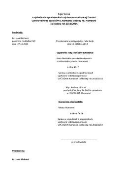 Správa o VVČ 2013/14