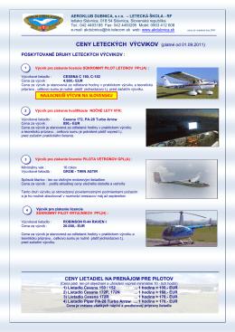 Cenník vyhliadkových letov - Aeroklub Dubnica nad Váhom