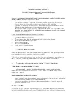 Písomná informácia pre používateľov Synagis 50 mg