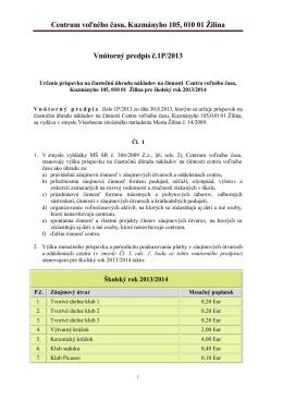 Poplatky - CVČ Žilina