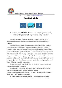 Športová trieda - ZŠ Sama Chalupku