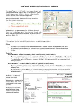 Tlač adries na skladových dokladoch a faktúrach