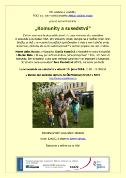 """Lunchseminár """"Komunity a susedstvá"""", Nitra"""