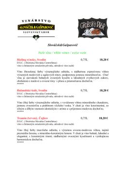 Slováček&Gašparovič biele vína / white wines / weise wein
