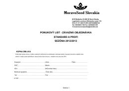 závazná objednávka standard a profi sezóna 2012