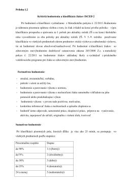 kritériá hodnotenia pre ISCED 2 - 6zs