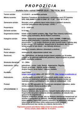 Propozície – SNIPER 22LR Tactical 2012