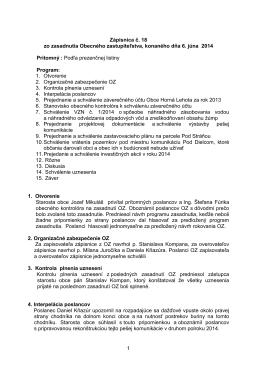 Zápisnica z zasadnutia OZ zo dňa 6.6.2014