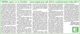 cena tepla pre rok 2012, vyúčtovanie roka 2011
