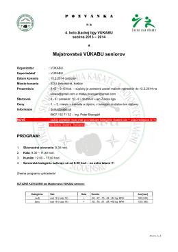 Pozvánka a propozície 4. kola žiackej ligy VÚKABU