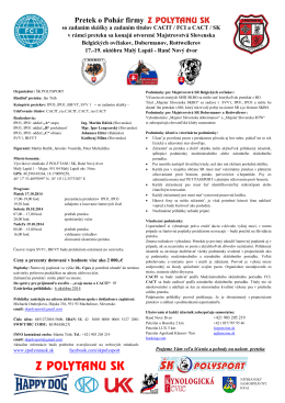 Propozície - RTW klub Slovenska