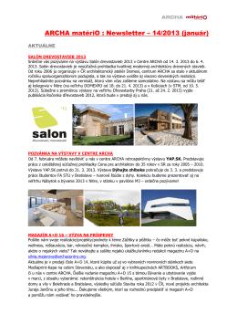 ARCHA matériO : Newsletter – 14/2013 (január)
