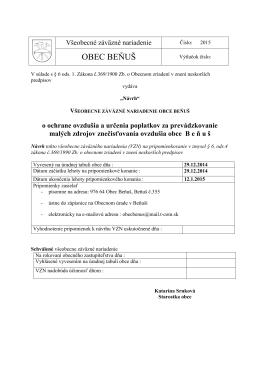 Návrh VZN o ovzduší - Horehronská obec Beňuš