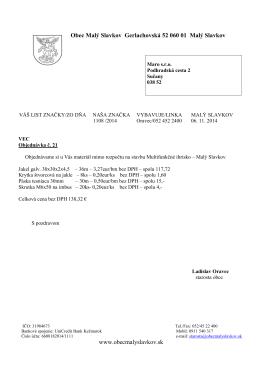 Objednávka č. 21 - Obec Malý Slavkov