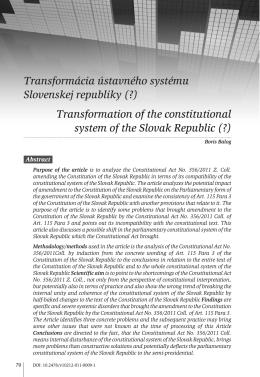 Transformácia ústavného systému Slovenskej republiky (?)