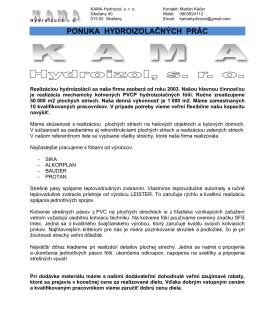 Prezentácia Kama Hydroizol s.r.o.