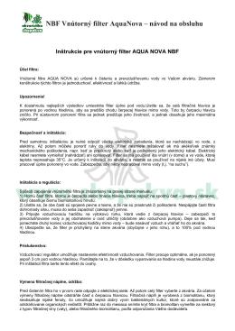 NBF Vnútorný filter AquaNova – návod na obsluhu - ABC-ZOO