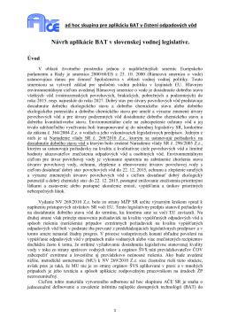 Návrh aplikácie BAT pre MŽP SR – január 2012