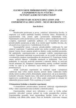 elementárne prírodovedné vzdelávanie a experimentálna výučba
