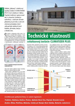 Technické vlastnosti celulózovej izolácie CLIMATIZER PLUS